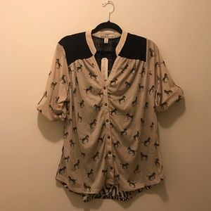NWT Safari Button Down Blouse